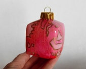 Glass Cube Ornament - Hand Painted Pink Holiday Decoration