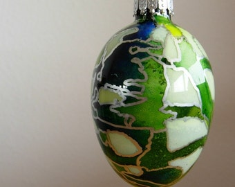 Painted Glass Egg Ornament