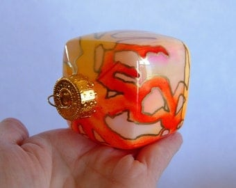 Hand Painted Glass Cube Ornament