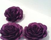 Silk Fabric Rose Embellishments in Metallic Colors.
