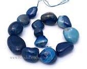 SALE 50% OFF - Royal Blue Agate Smooth Nugget beads HUGE 25-40mm 16 inch strand