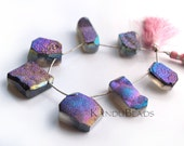 Faceted Agate Freeform Titanium Druzy geode Focal beads, 7 inch strand 5-7 pieces 20-50 mm