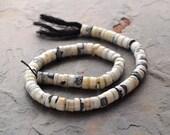 """White Black Peru OPAL smooth Heishi, tire, roundel, tube Beads 8 MM 12"""""""