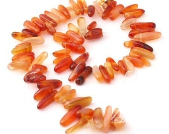 Carnelian Agate Smooth Point Beads 18mm red orange 16 inch strand