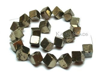 Golden Pyrite dice cube beads 11mm strand nice polish