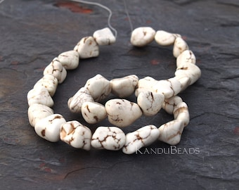 """White Turquoise Magnasite 10-20mm Smooth NUGGET beads 15"""""""