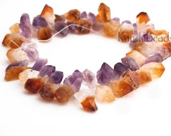 SMALL Amethyst Citrine Crystal Point Beads 8-15mm Top Drilled Natural (Choose Strand Lenght)