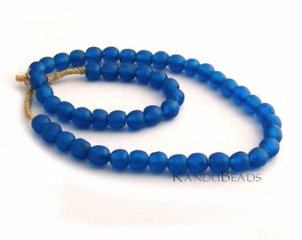 Handmade Recycled Glass Beads Bright Blue 13mm 8 inch (half strand)  (Made In Ghana) Rough Surface  Great Texture