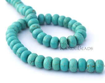Turquoise Color, Magnasite 4x8 mm smooth roundel beads 15""