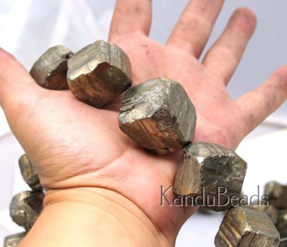 GIANT Golden Pyrite Rough Dice Cube Bead 35mm ONE BEAD
