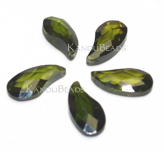 CLOSEOUT 50% Off- Olive Green (Chrome  Tourmaline Color) Cubic Zirconia CZ briolette Tear Drop (petal) bead 10x20 (ONE bead)