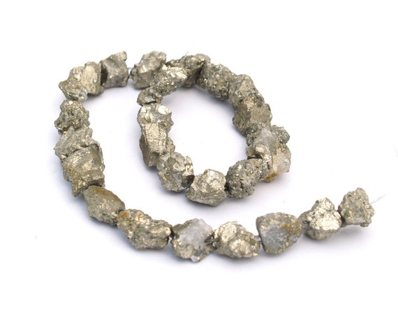 "SALE 30% Off - Golden Iron Pyrite Natural ""CRUNCHY"" Rough nugget beads 15mm 14 inch (FULL strand) (25-35 beads)"