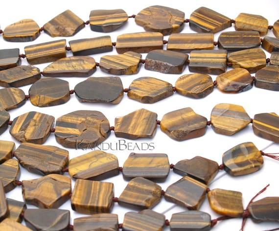 Tigerseye tigers eye Sooth Slab Nugget Beads 25X35mm ONE Focal Bead