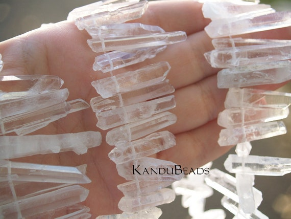 Natural Rock Crystal Point Beads 20-40mm 7 inch strand (aprox 25 pieces)