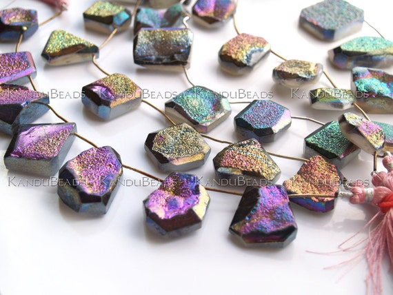 Faceted Agate Freeform Titanium Druzy geode Focal beads, 3 inch strand (Aprox 3 pieces) 20-50 mm