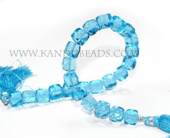 SALE -- Swiss Blue Topaz Faceted Cube Box Beads 6x6mm 90ct 8 inch (aprox 28 beads)