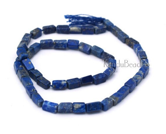 Lapis Lazuli Rectangle Brick Beads Blue 7x4mm 14 inch strand