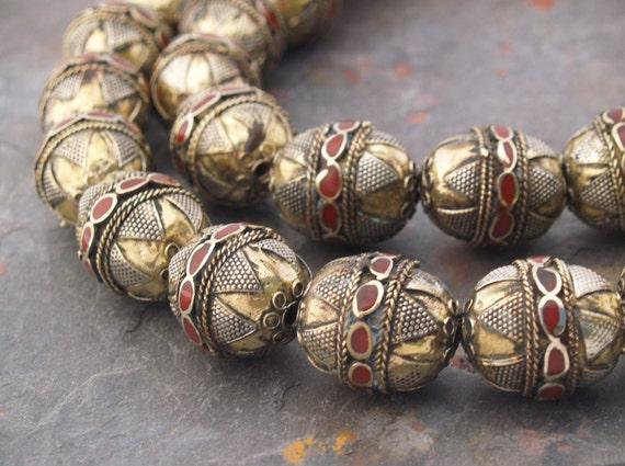 Morocan Prayer Beads Brass, Silver, Red Inlay 35 mm 2 beads