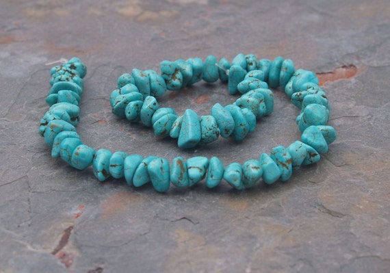 Robin's Egg Blue Turquoise Color Magnasite 6-13mm Smooth NUGGET beads 15""