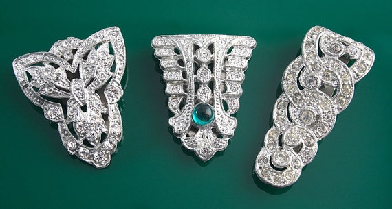 3 Dress clips assortment different shapes and sizes from the 40s