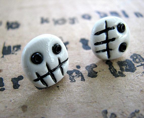 Sticks and stones skulls and bones - Halloween stud earrings