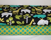 Michael Miller Fabric Duo Zoology Lagoon and Ta Dot Caribe 2 yards total