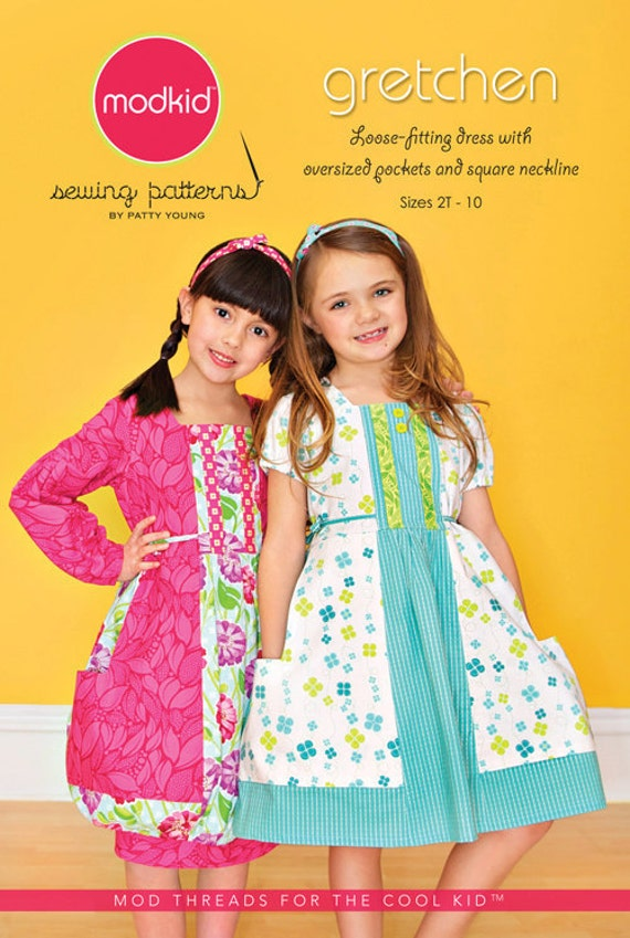 Gretchen Euro Style Dress with oversized pockets square neckline Modkid Sewing Patten