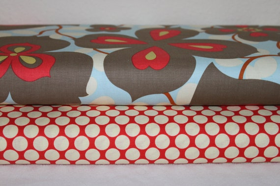 Amy Butler Fabric Duo Morning Glory Linen and Full Moon Polka Dot Cherry 2 yards total