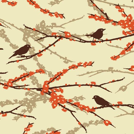 Joel Dewberry Fabric Aviary 2 Sparrows Bark 1 yard cut