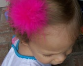 Marabou Puff on Snap Clip or Alligator - U PICK COLOR - LOW Shipping COST