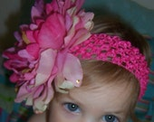 Large Multicolor Pink Peony with Crochet Headband - CUSTOMER FAVORITE