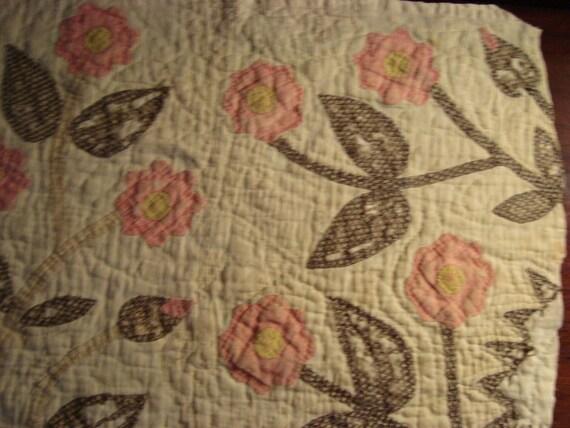 Antique 19th Century Appliqued Flower Quilt Piece