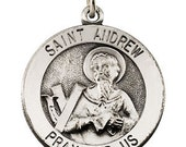 Blessed Sterling Silver Medal of St. Andrew Patron Saint of Russia Scotland and Fishermen