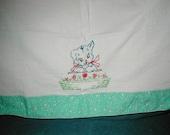 Vintage Linen Kitchen Towel Embroidered Dog w/h Flowers