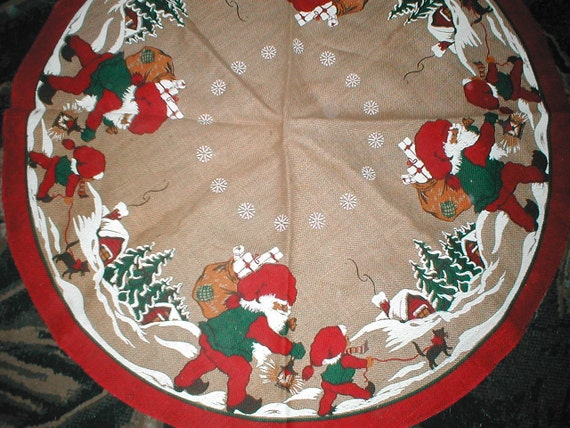 Vintage christmas tree skirt swedish burlap elf pattern