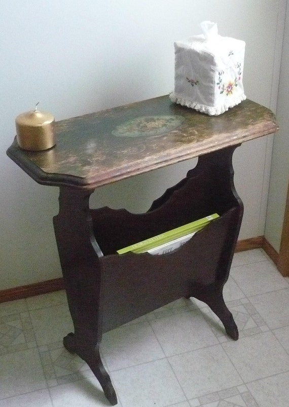 Items Similar To Antique Wooden Side End Table Magazine