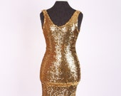 vintage 80s Gold Sequin KNIT BANDAGE DRESS body con metallic - Monamel Los Angeles