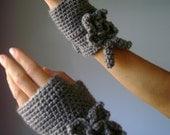 Crochet Fingerless Gloves Mittens Arm Warmers Silver Grey Gray wool acrylic flower