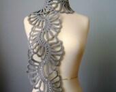 Custom listing  Crochet Art scarf  Heather Gray /Grey / Silver wool lace floral