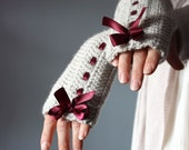 CUSTOM LISTING Crochet Fingerless Gloves Grey linen  Mittens Arm Warmers  satin ribbon red / burgundy wine cloud  Silver Rain bow