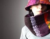 A set of a Felted Nuno retro hat and a neckwarmer / scarf wool silk lace bright purple orange magenta