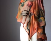 Nuno felted scarf shawl wrap silk wool crochet design rust moss green floral hand dyed painted earthy patina