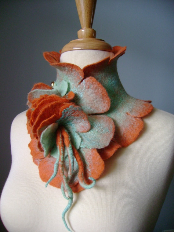 Silk wool  felted   scarf / collar ruffled floral Pin crystal button