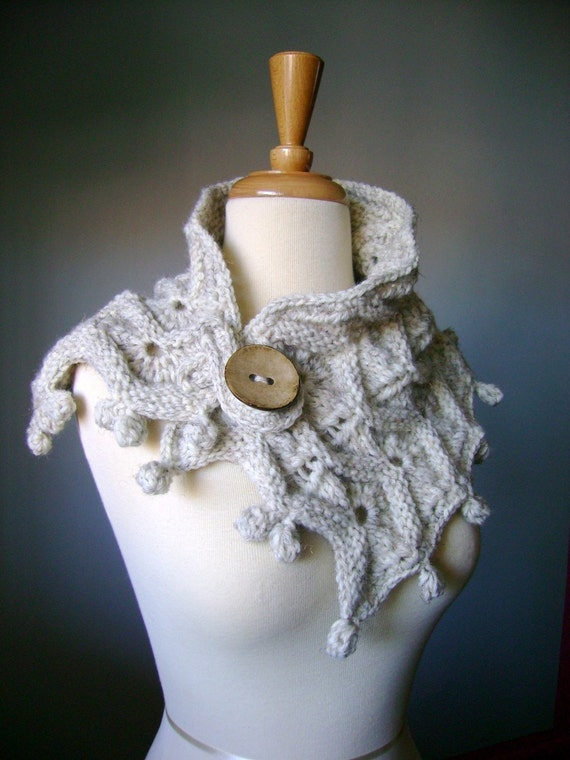 Oversized Chunky Handknit  textured neckwarmer / scarf / wrap / cowl WOODLAND Oatmeal / Wheat / Off White