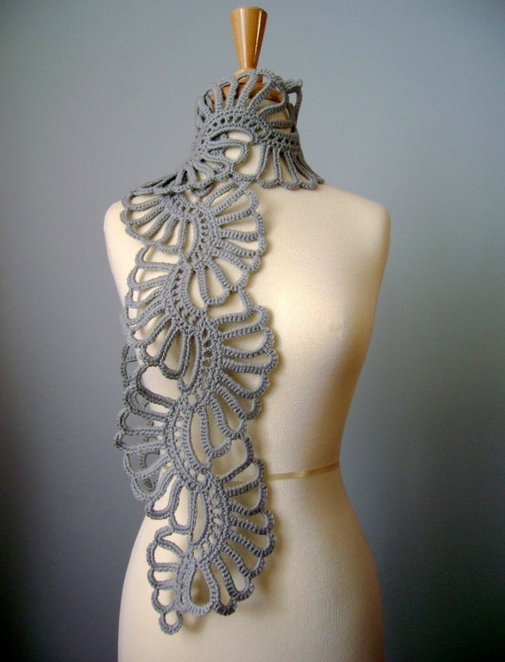 Crochet Art scarf Gray /Grey / Silver wool lace floral