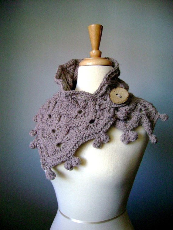 Handknit  scarf Taupe  Medium Brown coconut button MADE TO ORDER