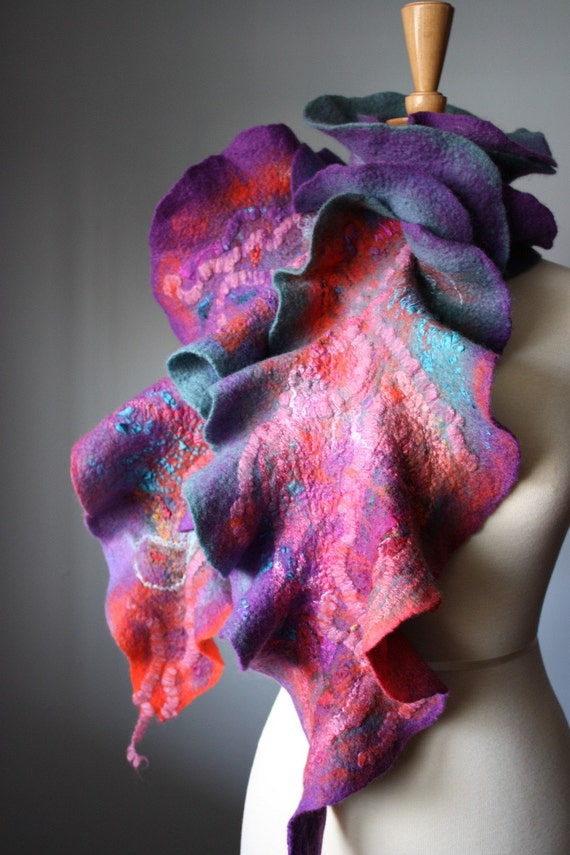 Modern Painting Nuno felted Art scarf shawl wrap  wool silk Purple Mint Lilac Coral Pink  magical collage FREE gift wrap tpt team etsy team