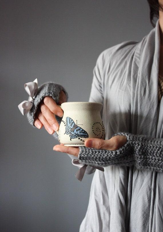 Crochet Fingerless Gloves Mittens Arm Warmers Grey  twilight  butterfly