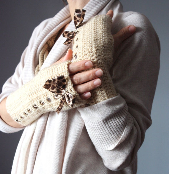 Crochet Fingerless Gloves Mittens Arm Warmers Beige Cream  epictt  Casual Eco-Friendly satin ribbon animal print  brown bow