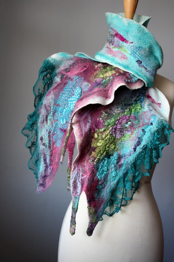 Nuno felted scarf  wool silk Mauve Aquamarine  collage